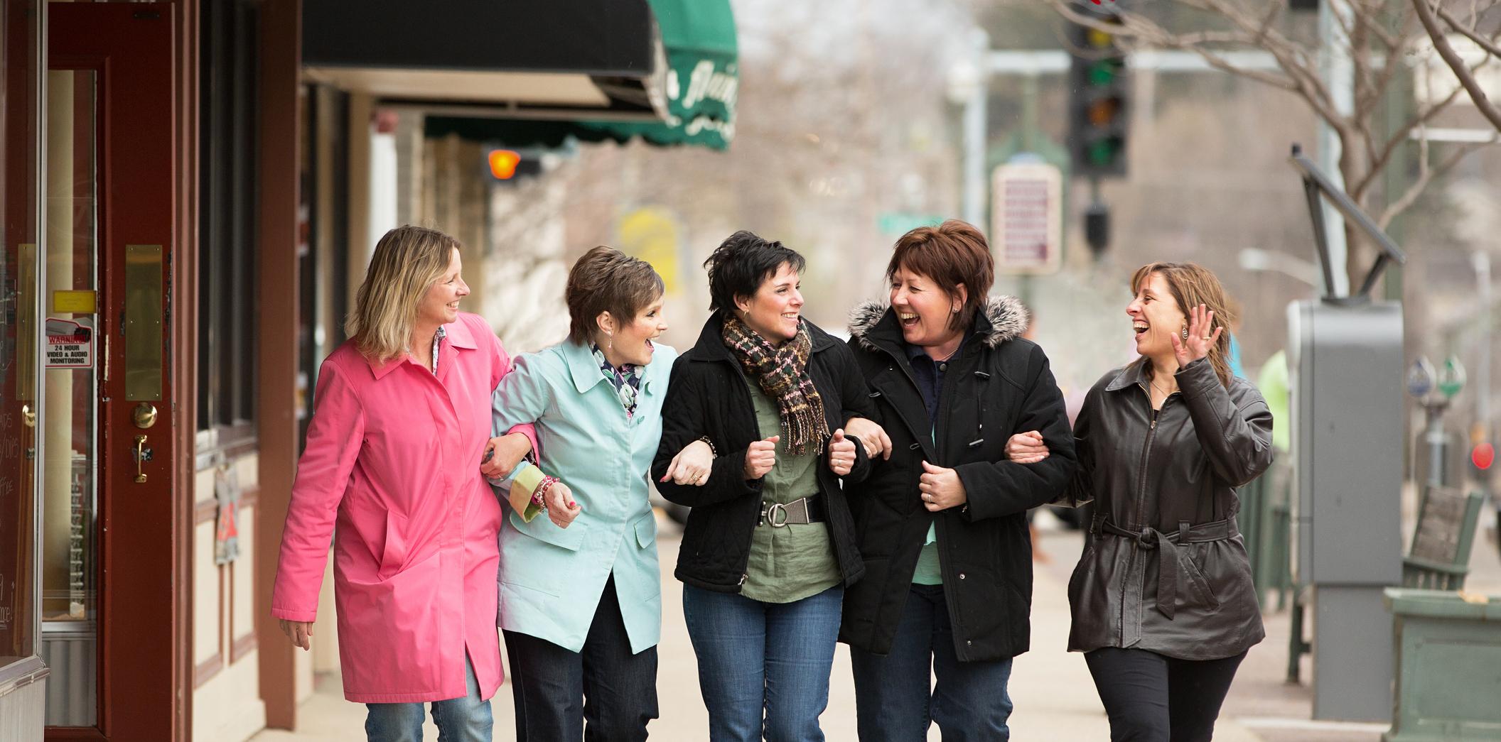 Bunch of women friends having fun.